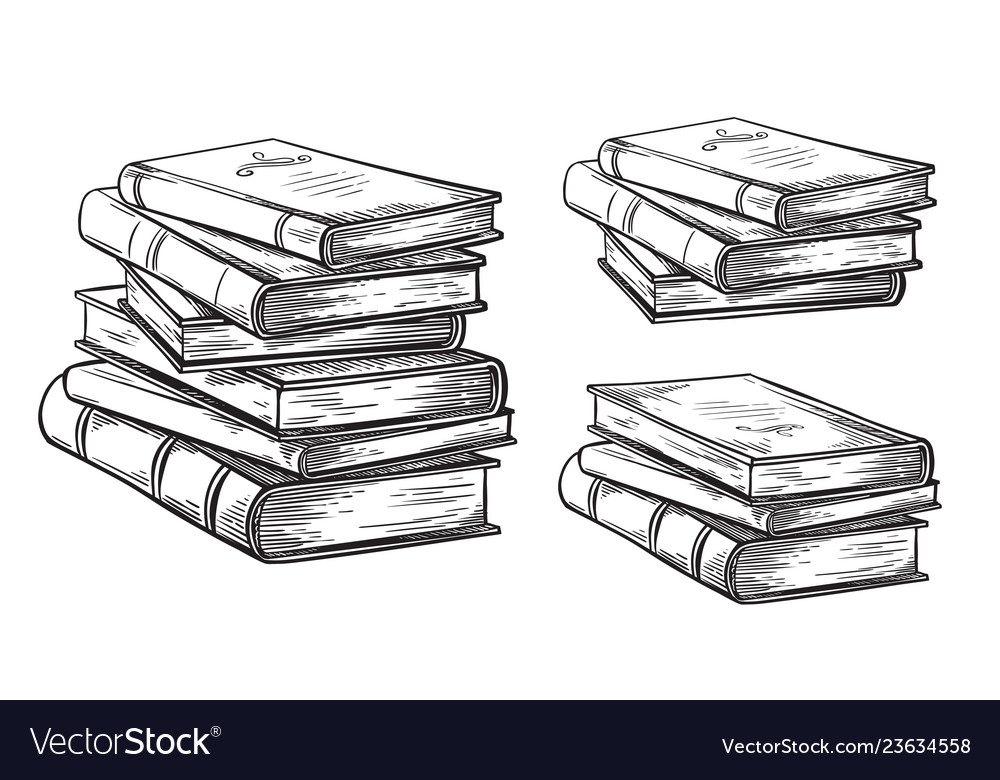 Hand drawn sketch stack books isolated on white