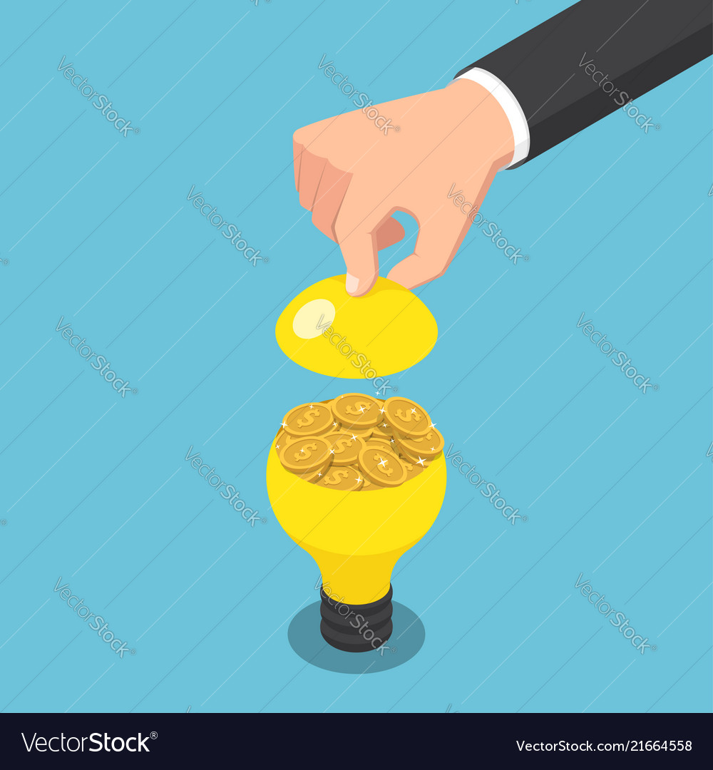 Isometric businessman hand open light bulb with