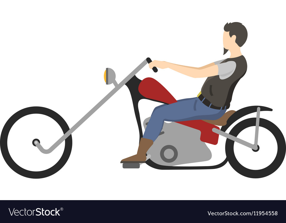 Motorcyclist on motorbike