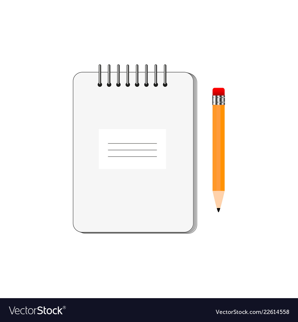 Notepad with pencil on white background