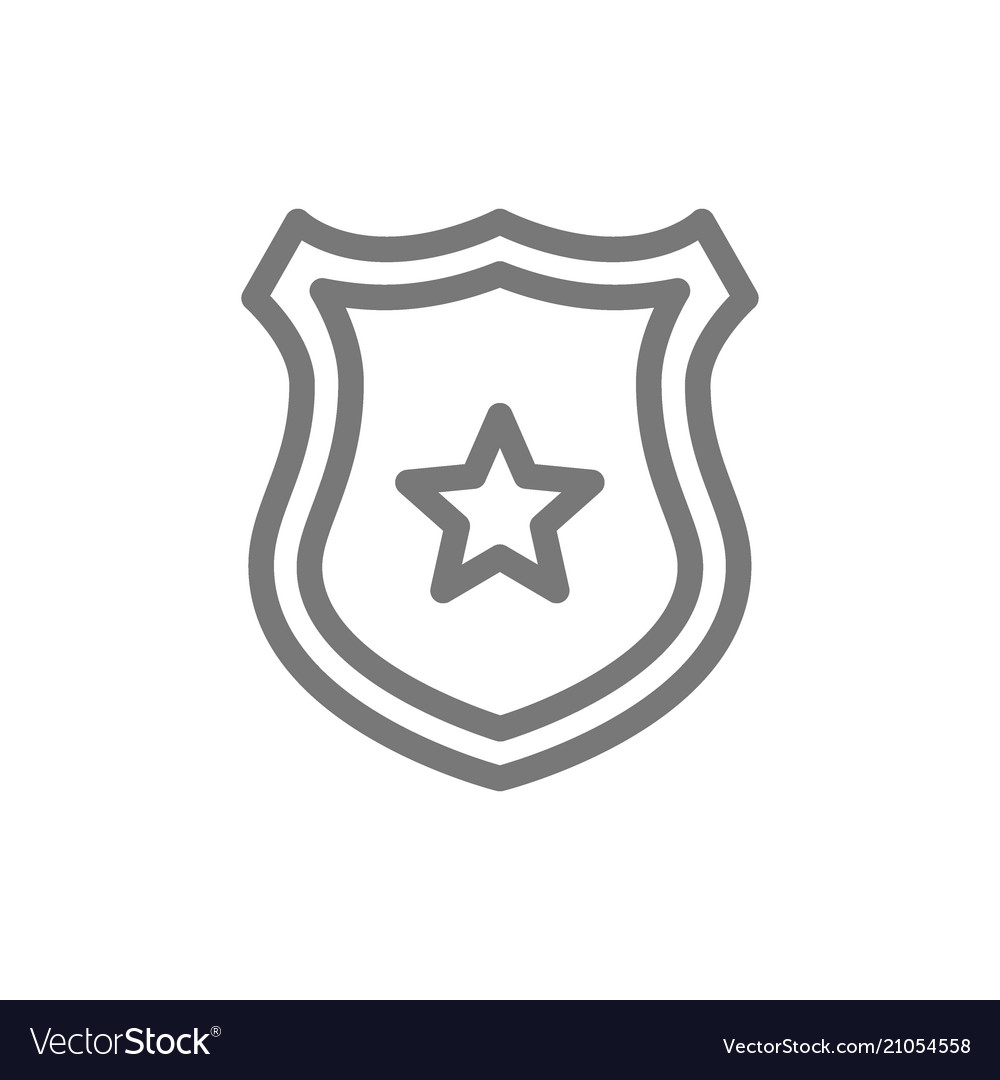 Simple police office badge line icon symbol and
