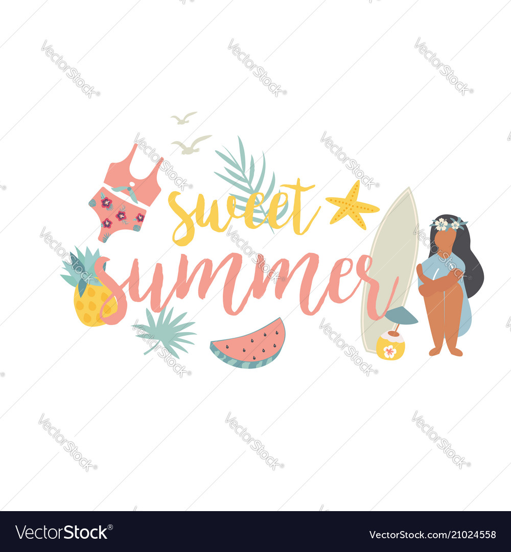 Summer beach poster with pretty girl and sea kit