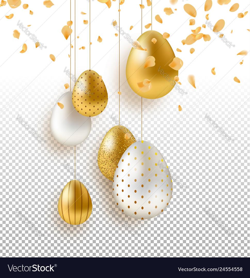 Transparent easter egg and flower background