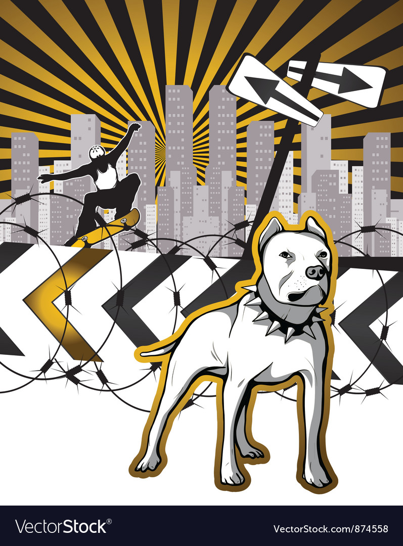Urban background with skater and dog vector image