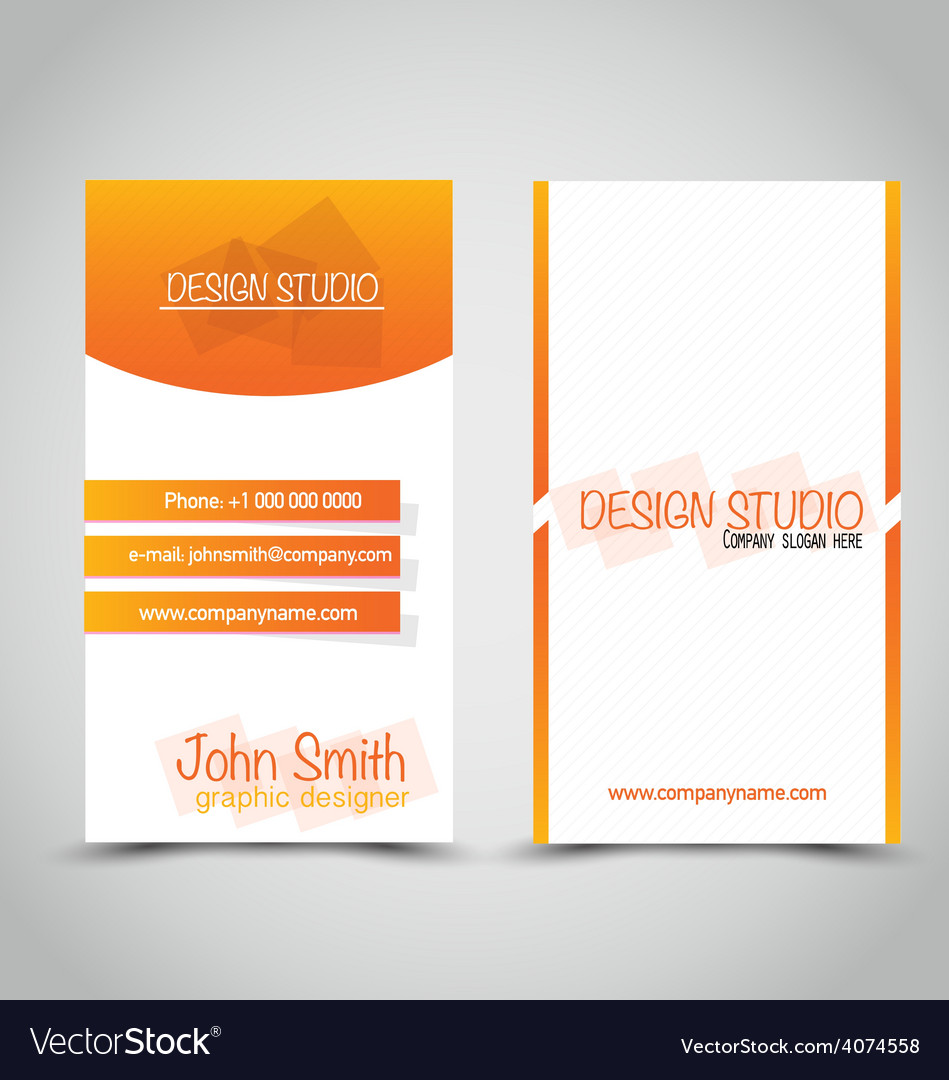 Vertical business card set template orange and vector image colourmoves