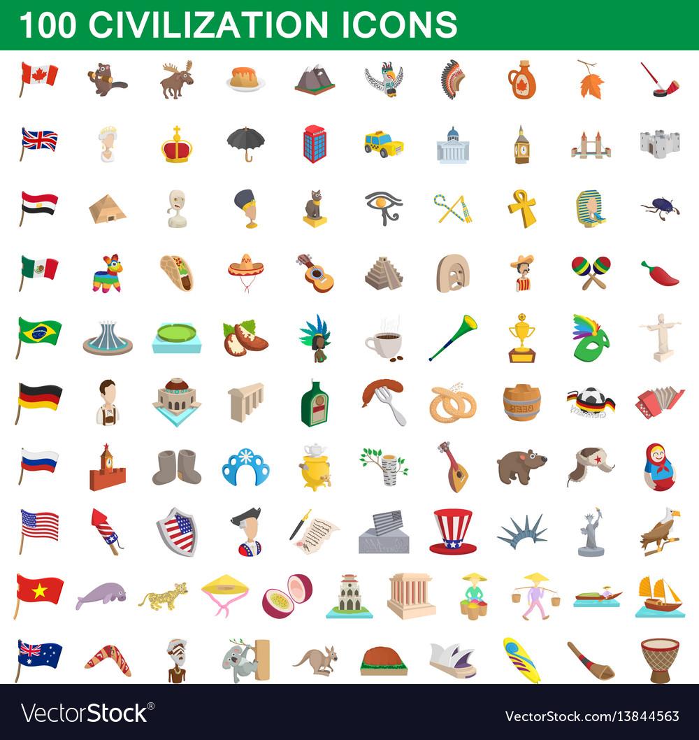100 civilization icons set cartoon style