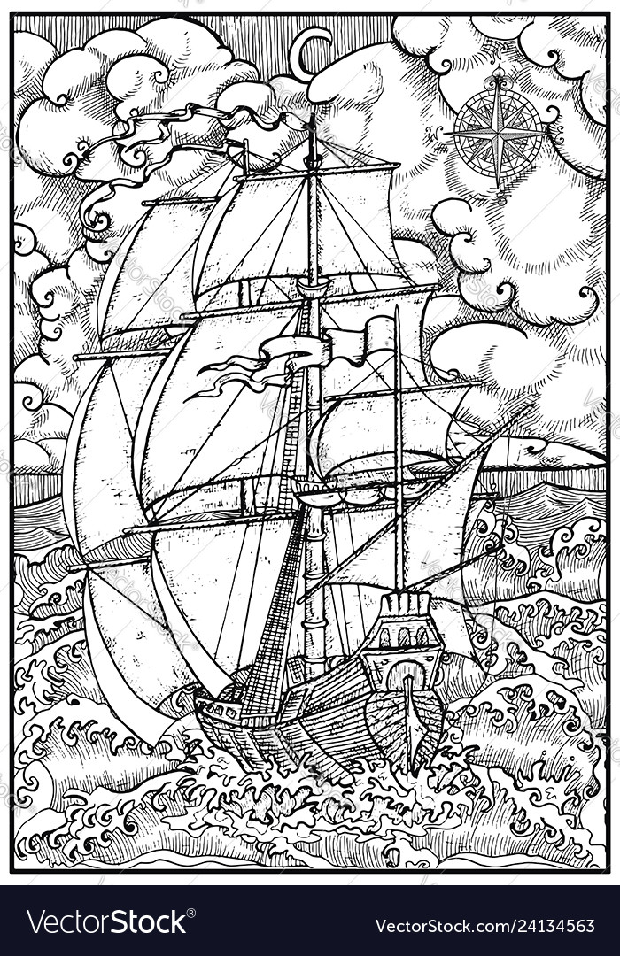 Ancient vessel under full sail against stormy sea