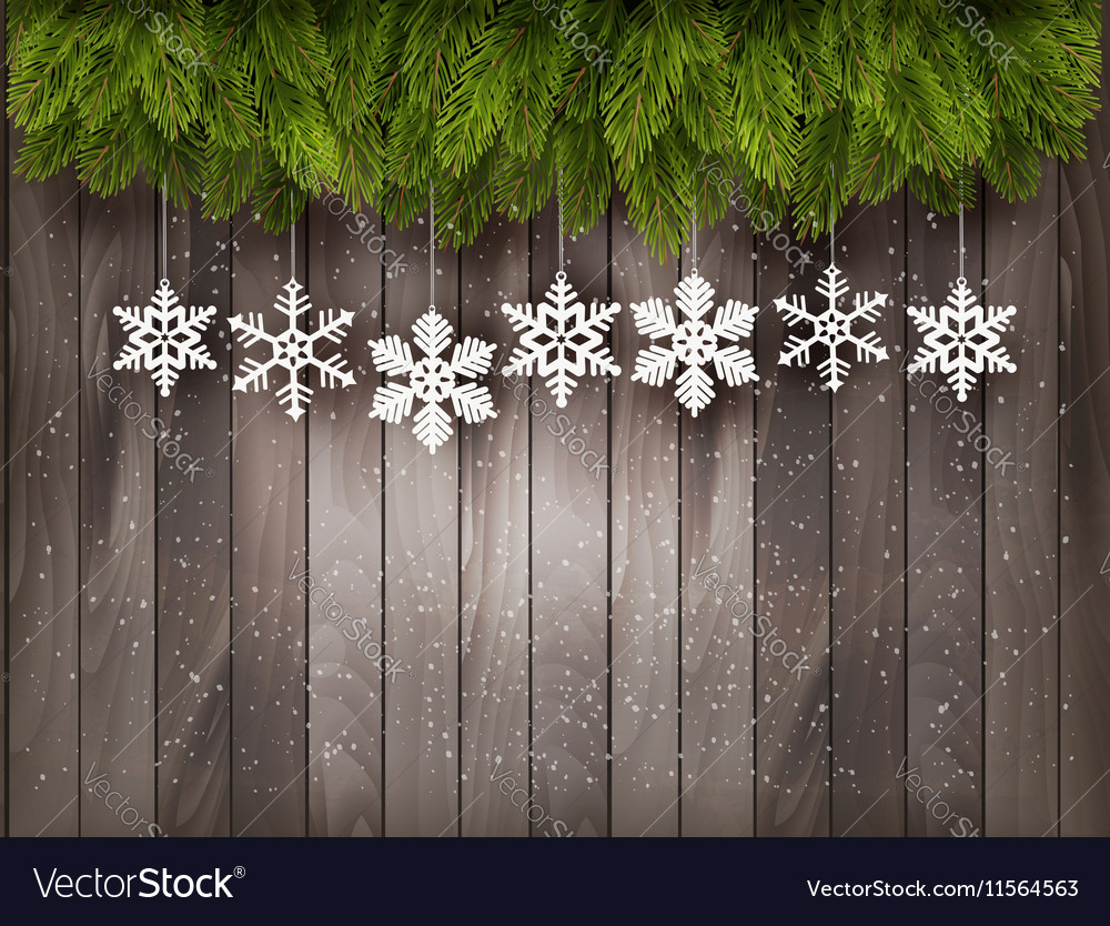 Christmas Wood Background.Christmas Decoration On Old Wooden Background