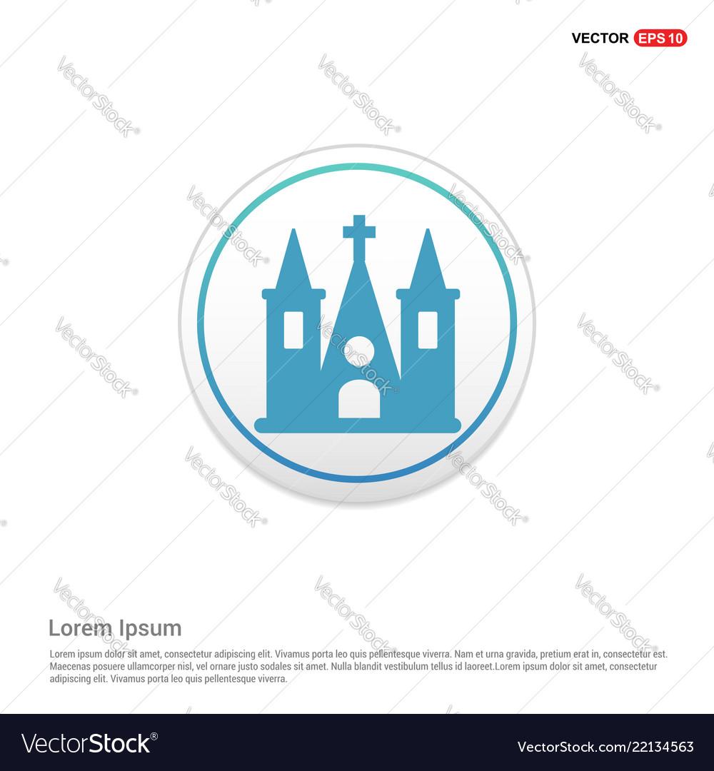 Church building icon - white circle button