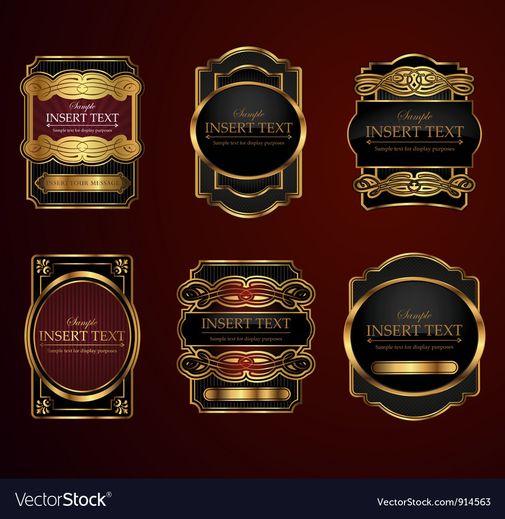 Decorative ornate label collection vector image