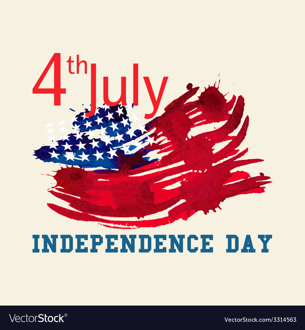Greeting card with US flag Independence day of