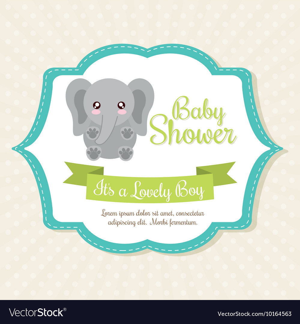 Kawaii Elephant Baby Shower Design Royalty Free Vector Image