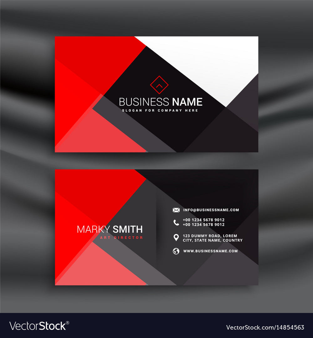 Red and black professional business card Vector Image