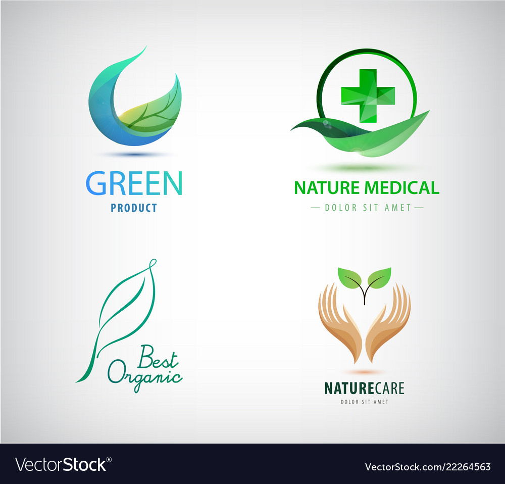Set of leaves logos natural cosmetics