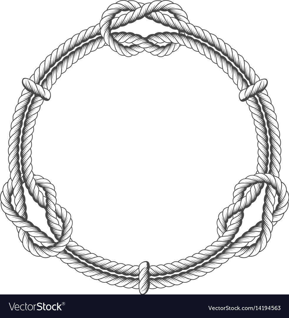 Twisted rope circle - round frame with knots
