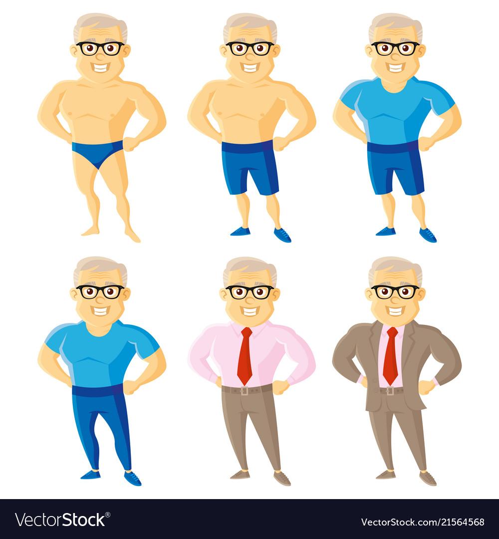 Athletic old men set cartoon character