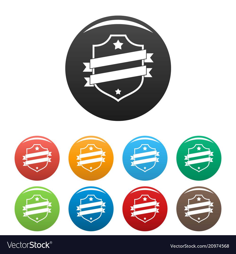 Badge business icons set color