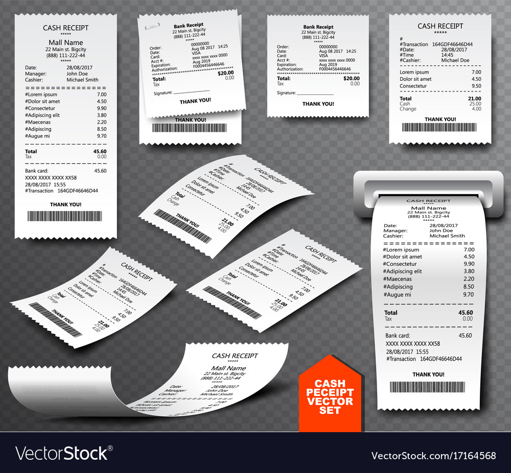 Cash register sale receipt printed on thermal