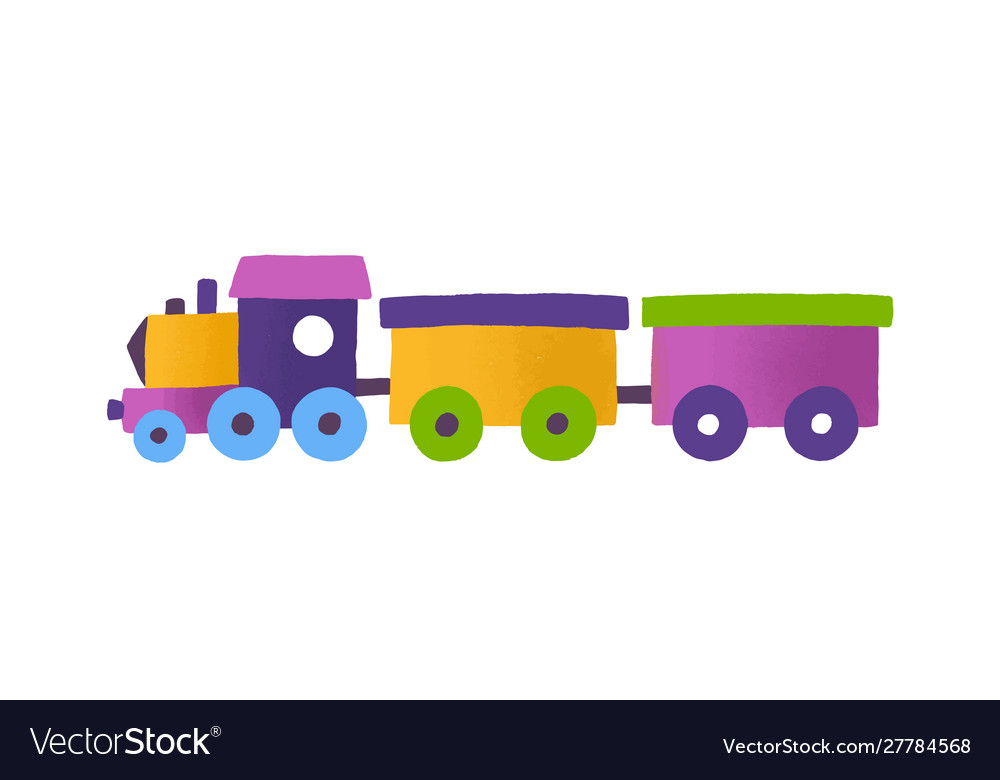 Childish toy train with wagons