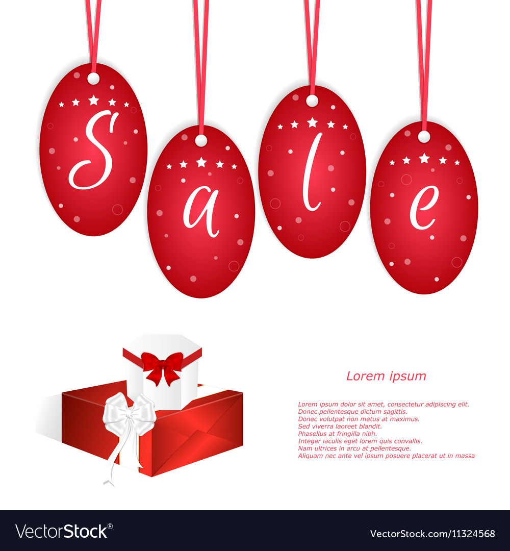 Festive card with red tags and the word sale two vector image