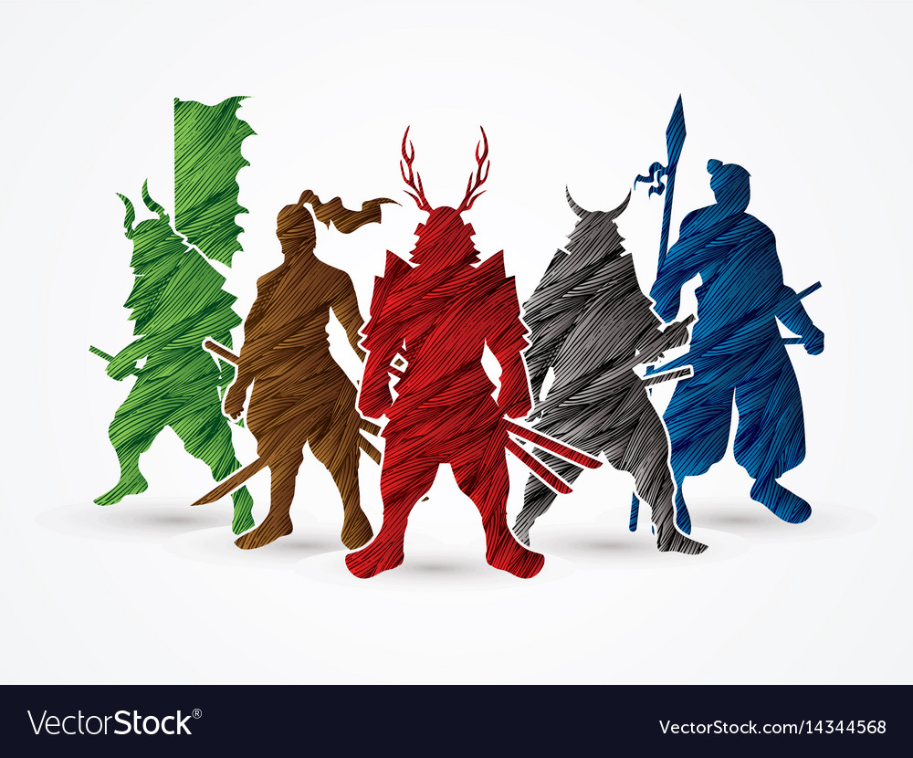 Group of samurai warrior pose vector image