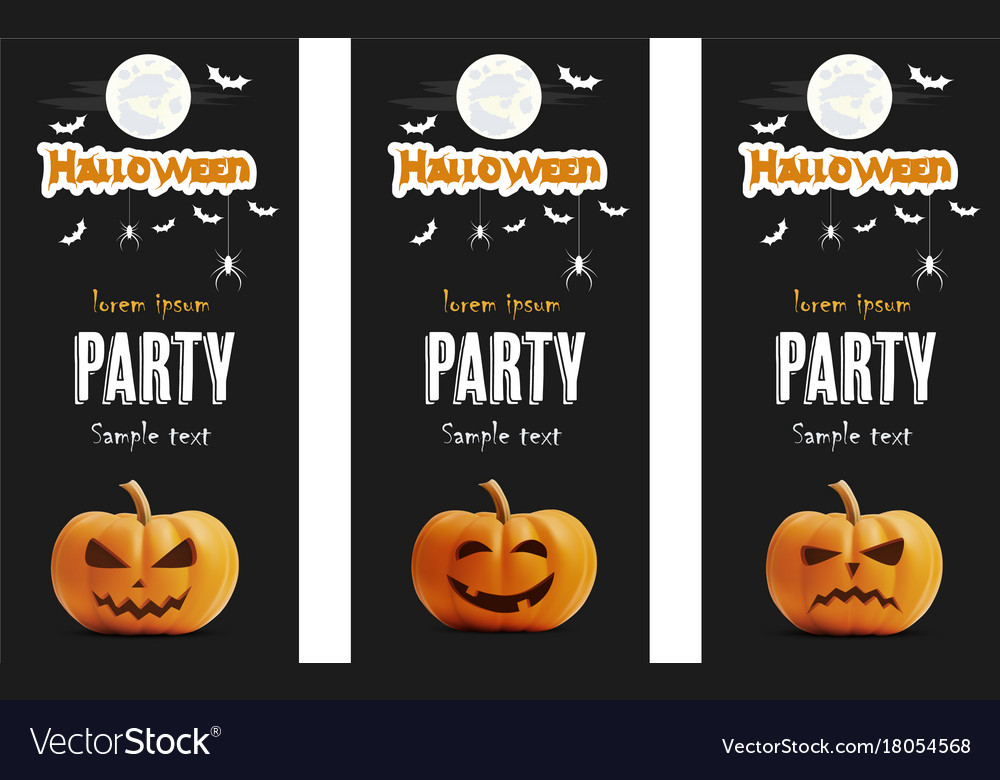Happy halloween black banner set pumpkin