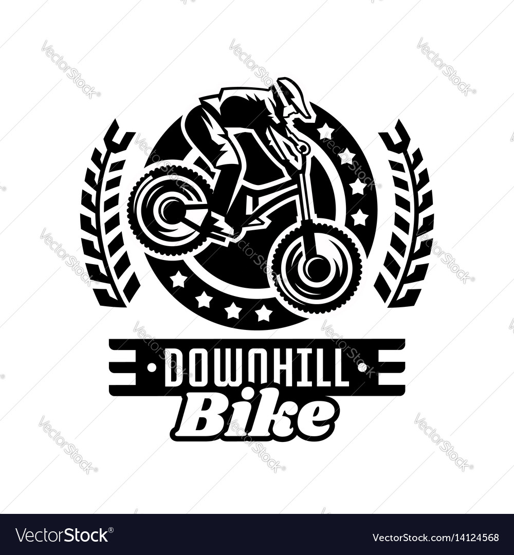 Monochrome logo mountain bike racer downhill vector image