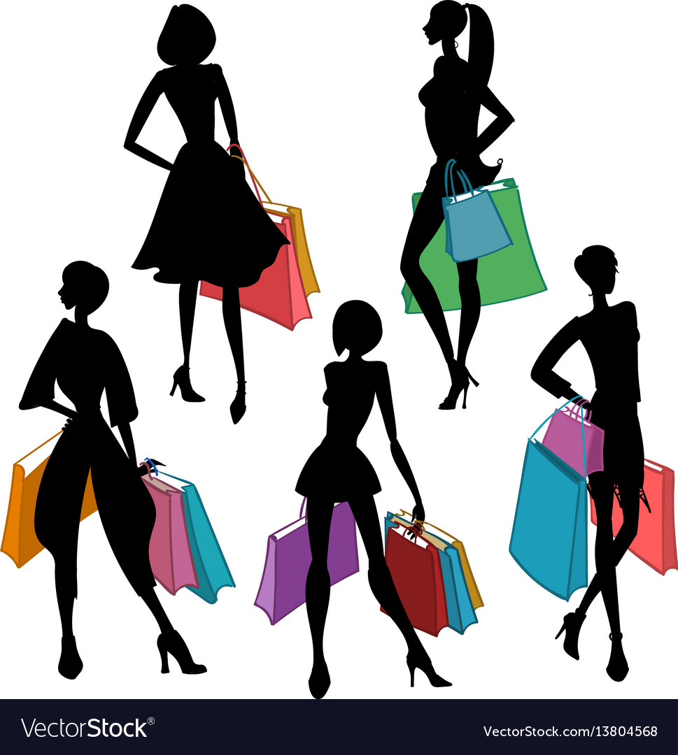 52f0a039019 Silhouettes of women with shopping bags