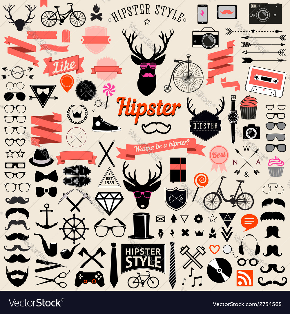 Vintage styled design hipster icons