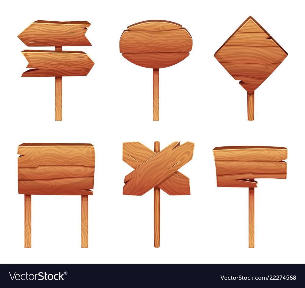 Wooden signboards in cartoon