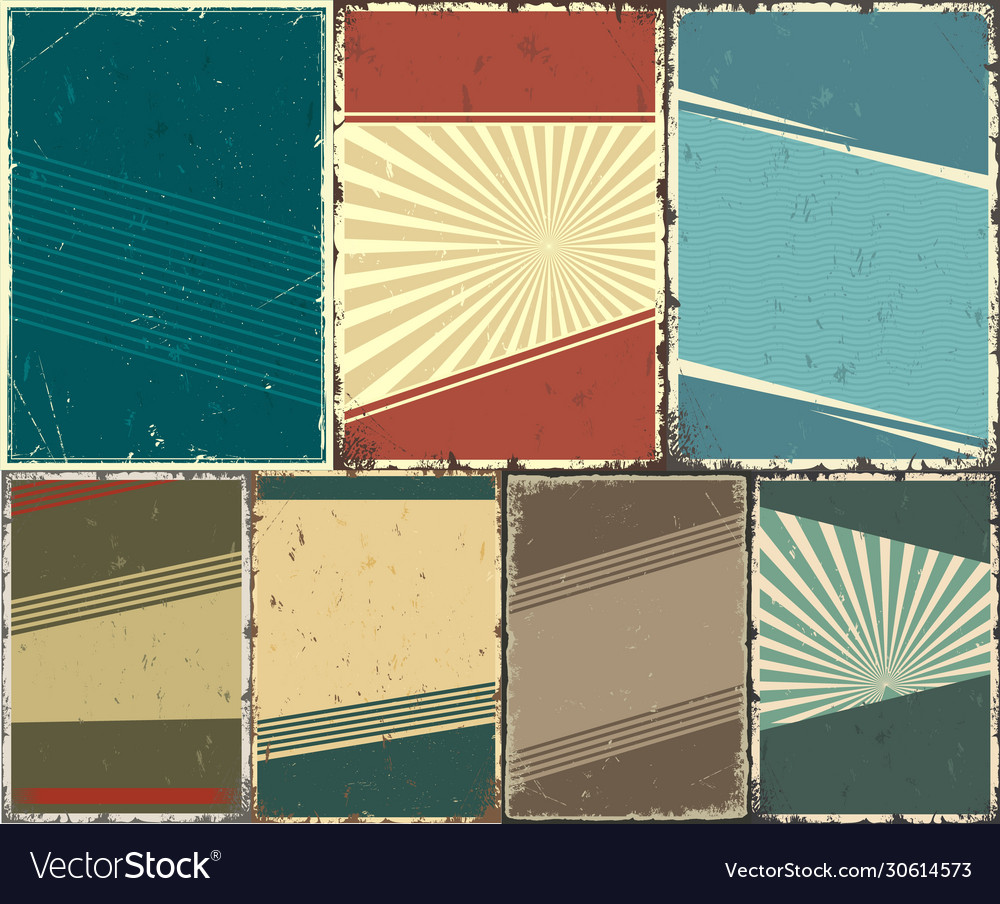 Abstract retro templates set vector