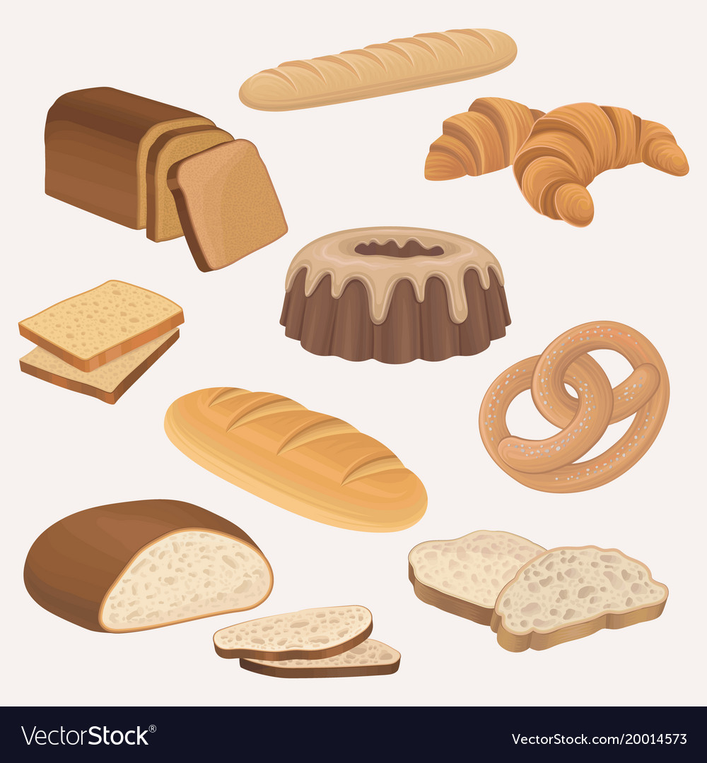 Bakery products shop icons set wheat and