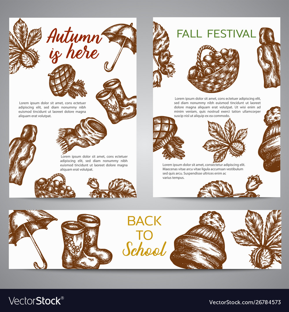 Brochure set banners with autumn symbols sketch