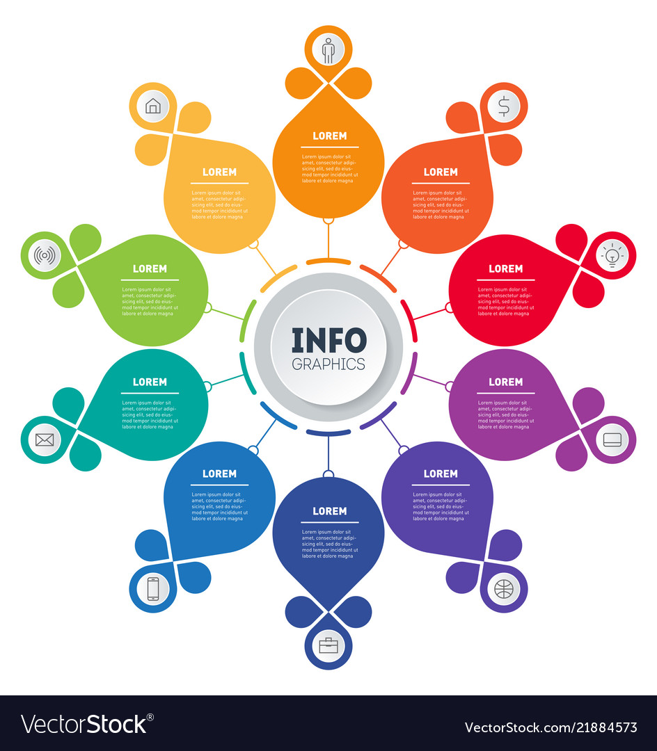 Business presentation concept with 10 options web