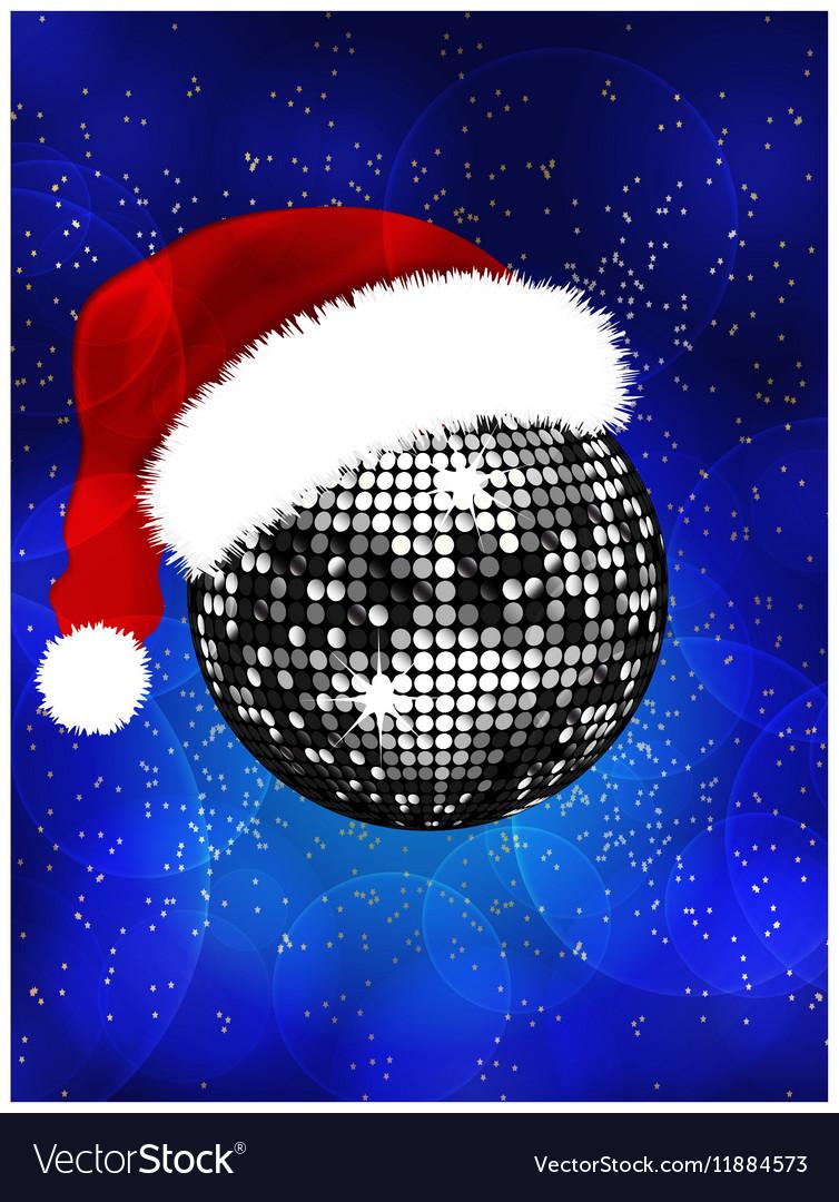 Christmas disco ball with Santa hat vector image