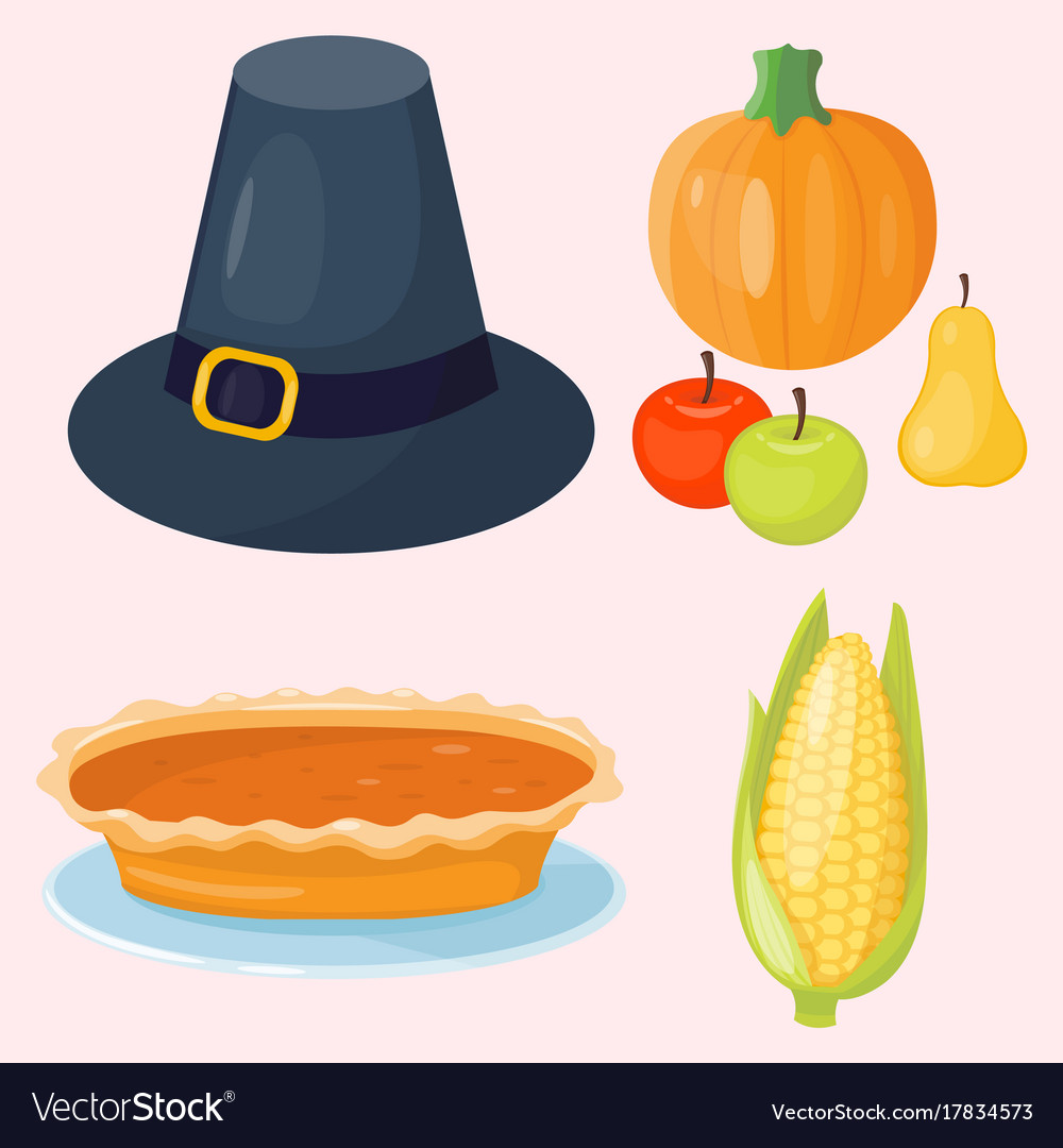 Colorful cartoon icons for thanksgiving day