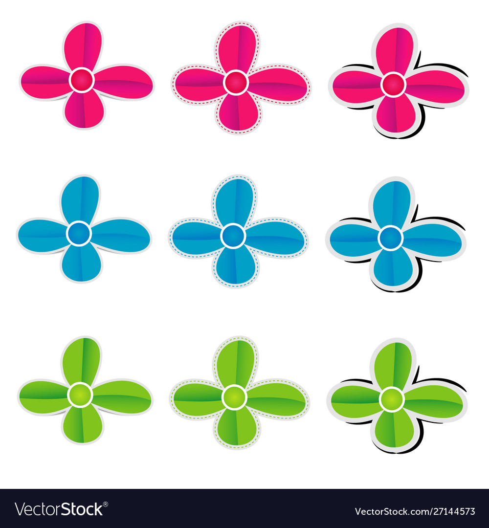 Colorful paper flowers on white background
