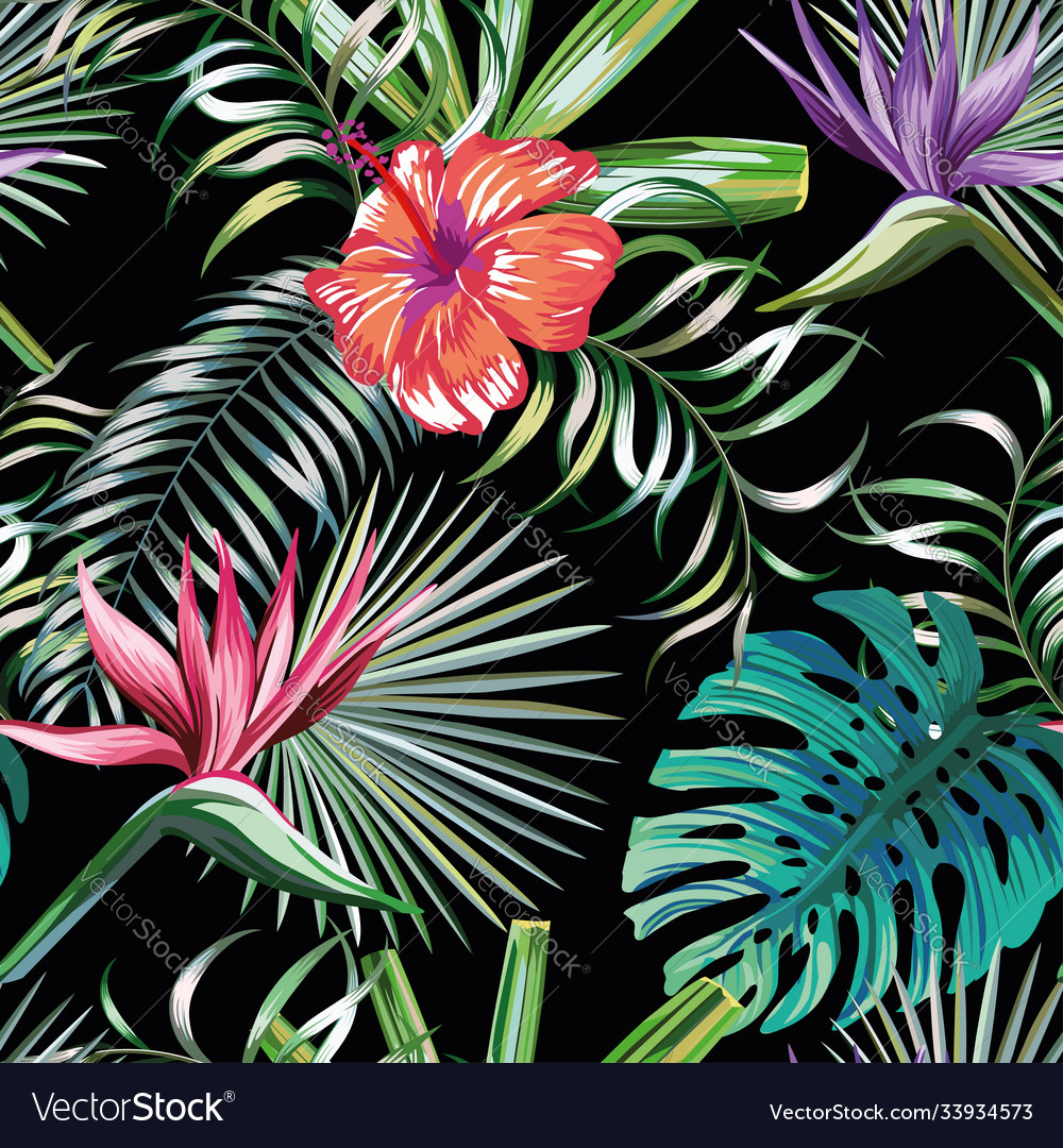 Exotic tropical plants and flowers seamless black