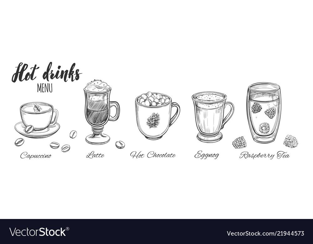 Hot drinks menu design elements coffee tea
