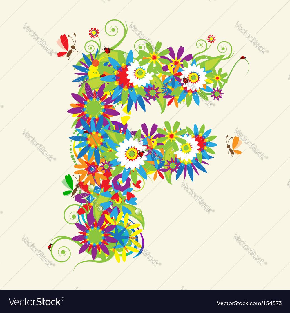 Letter F floral design Royalty Free Vector Image