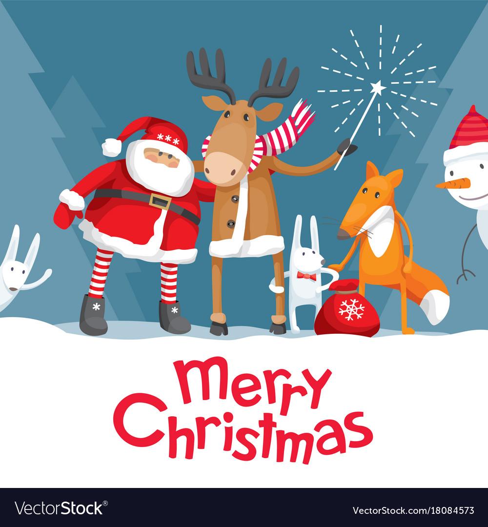 Santa elk deer fox and hares