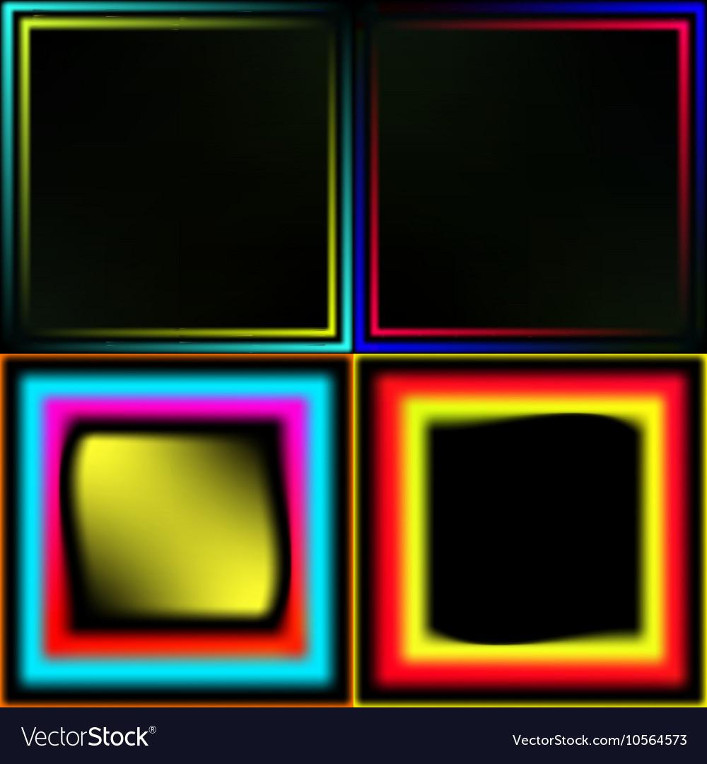739693795e9 Set Of Neon Frames Royalty Free Vector Image Vectorstock