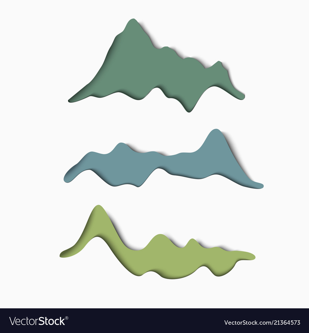 Set of stylized paper mountains