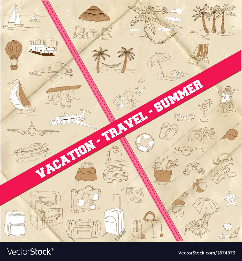 Set of Travel Summer and Vacation Theme