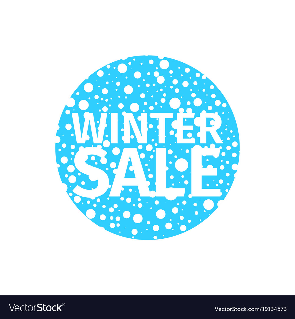 Winter sale banner in the form of a blue ball