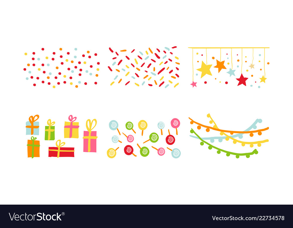 Birthday party decoration symbols set carnival