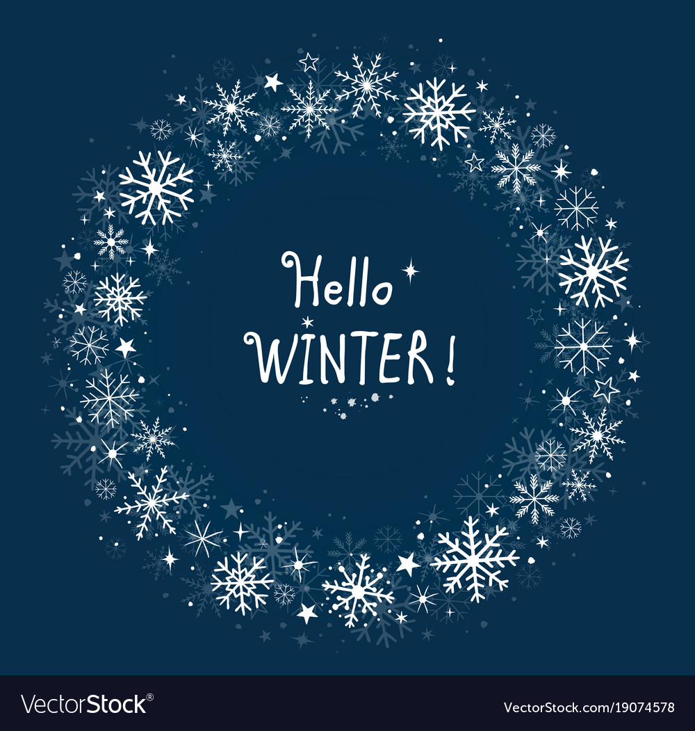Blue background winter frame with snowflakes