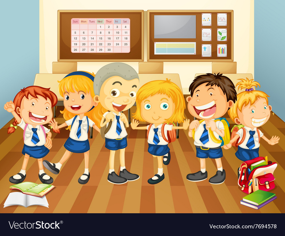 Children in uniform in the classroom