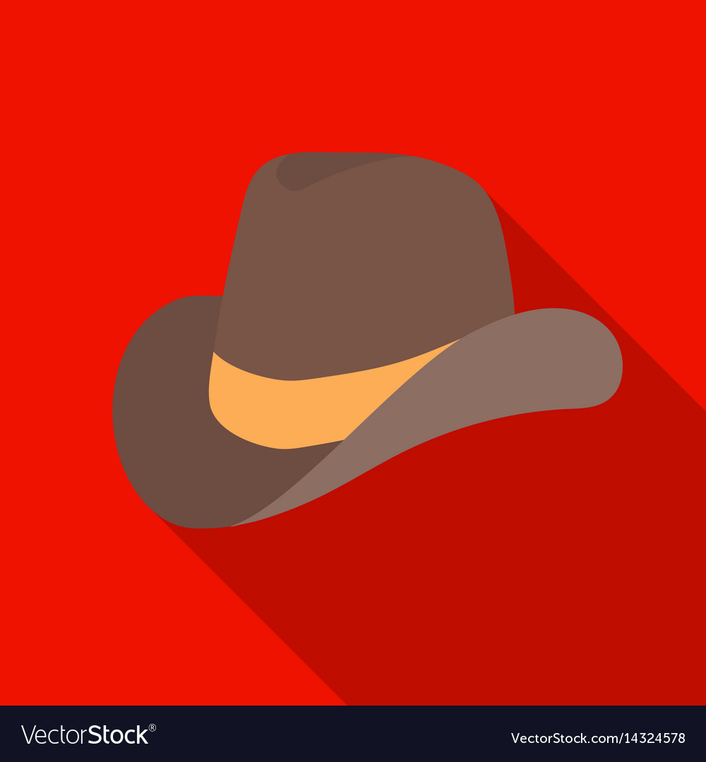 Cowboy hat icon in flat style isolated on white