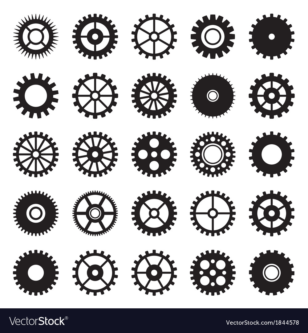 Gear wheel icons set 1 vector image